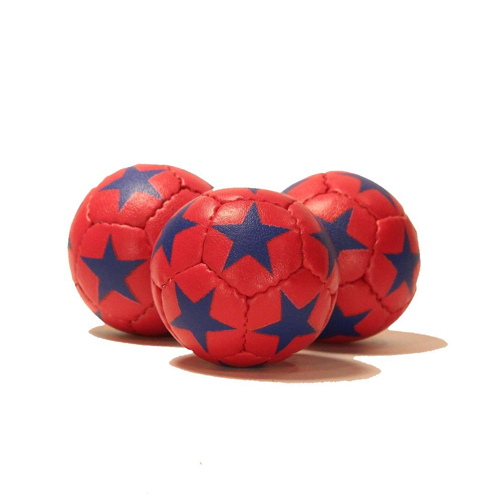 Zeekio Satellite Juggling Ball Set of 3 - Millet filled-67mm-125g - Great Grip - 12 Panel- 3 Ball (Red with Blue Stars)