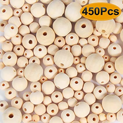 300Pcs 20mm Natural Wood Beads for Crafts Paxcoo Unfinished Wooden Loose Spacer Beads for Crafts Necklace Garland Making