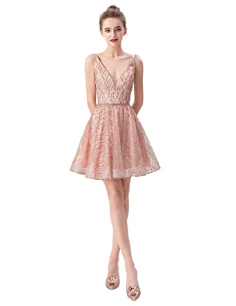 924468c624ec Belle House Women's Homecoming Dresses Short A Line Sequins V Neck  Graduation Party Ball Gown Rose