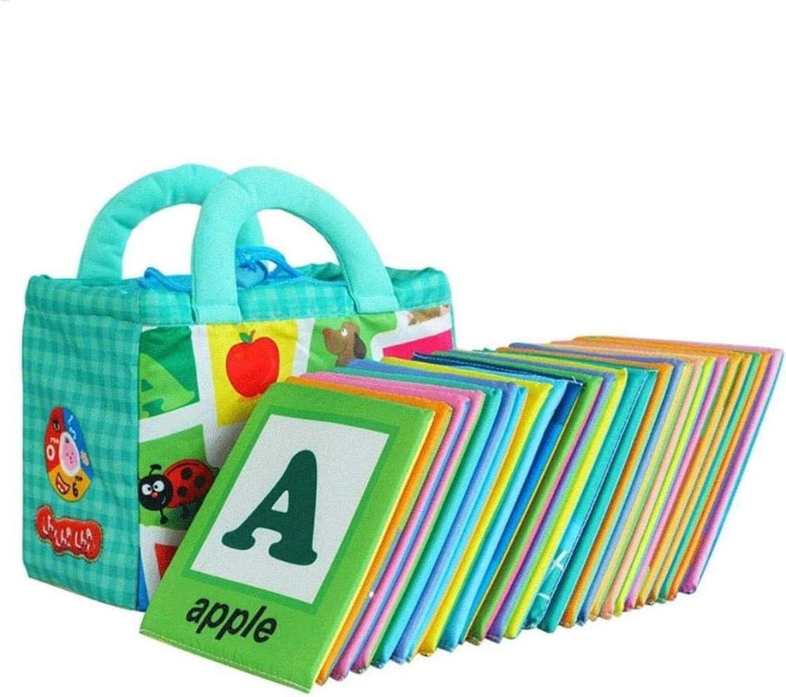 hsj Libro silencioso de aprendizaje interactivo de la educación temprana de juguete libro de bebé recién nacido de tela suave libro de aprendizaje libro de educación de mano de obra exquisita