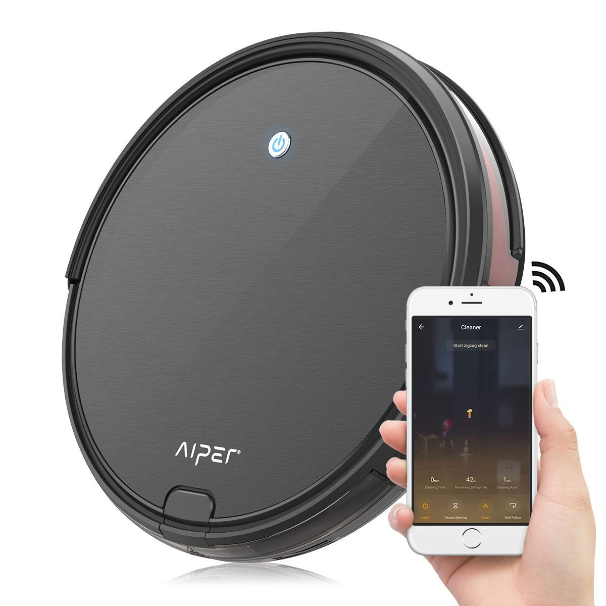 Aiper Robot Vacuum Cleaner, 1800Pa Strong Suction, 2.6inch Super Thin, Wi-Fi Connectivity, Compatible with Alexa, Self-Charging Robotic Vacuum, Good for Pet Hair, Carpets, Hard Floors