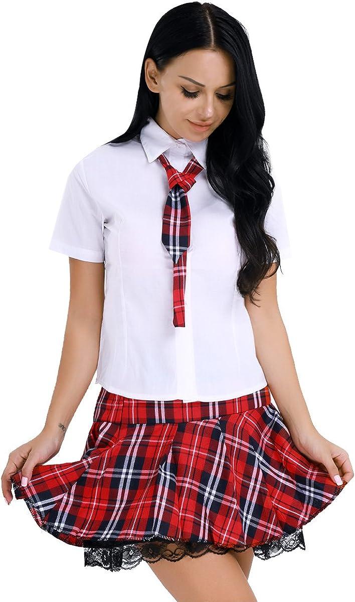 TiaoBug 3Pcs Uniforme Colegiala Japonesa Mujer Sexy Disfraz Escolar Marinero Atractiva Cosplay Ropa Lencería Erótica Camisa Blanca Falda Escocesa Mujer: Amazon.es: Ropa y accesorios
