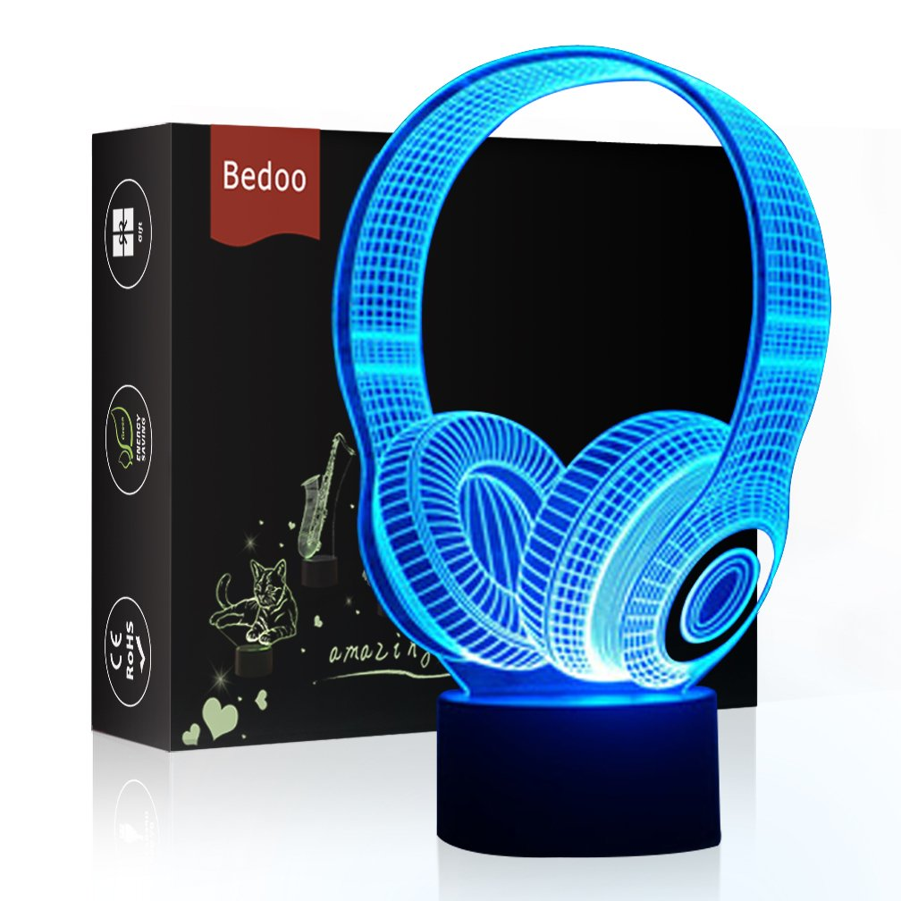 LED Night Light 3D Illusion Bedside Table Lamp 7 Colors Changing Sleeping Lighting with Smart Touch Button Cute Gift Warming Present Creative Decoration Ideal Art and Crafts (Headphone)