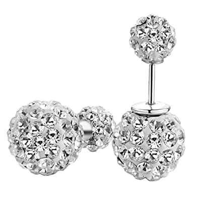 37a53ce38 Amazon.com: DIB 925 Sterling Silver Double Sided Balls Rhinestone Crystal  Tribal Stud Earrings 10mm: Jewelry