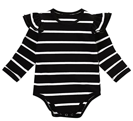 66b7d1ca7 Infant Baby Girls Long Sleeve Bodysuit Romper Ruffle Fly Sleeve Triangle  Cotton Jumpsuit (70(