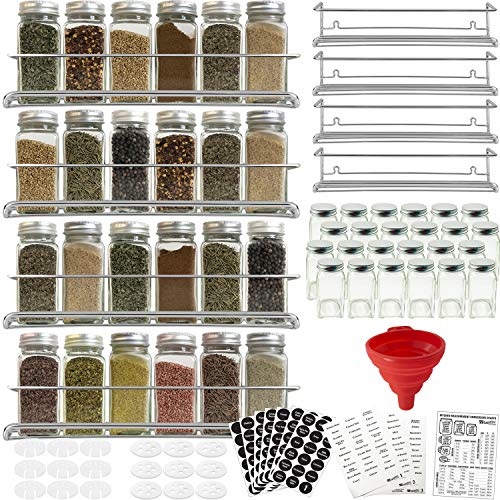 4 Spice Racks with 24 Glass Spice Jar & 2 Types of Printed Spice Labels by Talented Kitchen. Complete Set: 4 Wall Mount Stainless Steel Racks, 24 Square Empty Glass Jars 4oz, Chalkboard & Clear Label (Stainless Wall Mount Liner)