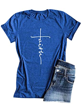 344b97267 Amazon.com: Qrupoad Women Cross Faith Shirts Christian T Shirt Short Sleeve Graphic  Tees for Religious Believers: Clothing