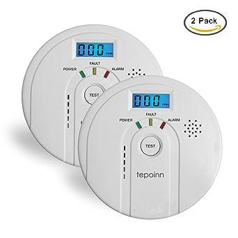 Tepoinn 2pcs Detector de Monóxito de Carbono Alarma CO con Pantalla Digital Electroquímica CO Sensor Advertencia