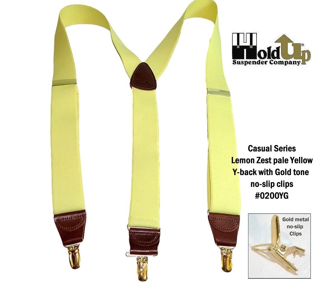 Hold-Ups Lemon Yellow Suspenders 1 1/2'' wide in Y-back with No-slip Gold Clips by Hold-Up Suspender Co. (Image #5)
