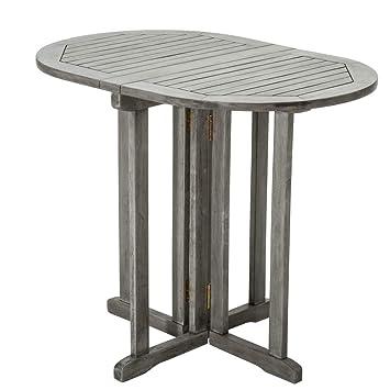 Pureday Table de Jardin - Pliante Ovale - Bois - Gris - env. 90 x 60 ...