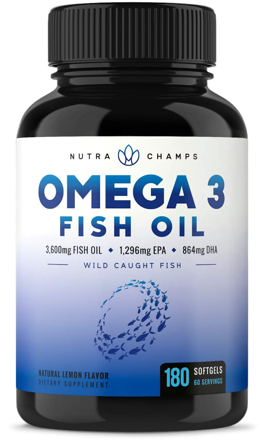 Omega 3 Fish Oil 3600mg, 180 Capsules - EPA 1296mg, DHA 864mg Fatty Acids - Omega-3 Burpless Pills - Highest Concentration Available for Joint Support, Immune, Heart Health, Brain, Eyes, Skin by NutraChamps