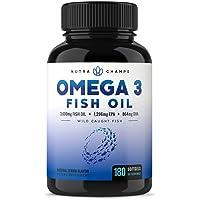 Omega 3 Fish Oil 3600mg, 180 Capsules - EPA 1296mg, DHA 864mg Fatty Acids - Omega...