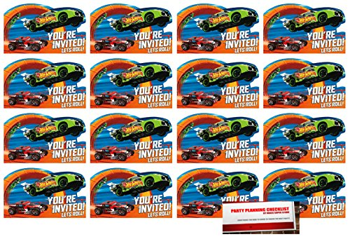 MSS 16 Hot Wheels Postcard Invitations Birthday Party Supplies Value Pack Plus Party Planning Checklist -