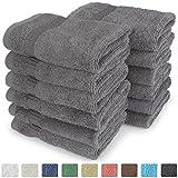 "Turkish Luxury Hotel & Spa 13""x13"" Wash Cloth Set of 12 Cotton - From Turkey - 700gsm Organic, Eco-friendly (Washcloths, Gray)"