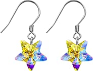 Aroncent Pulsera Pendientes y Collar de 925 Plata de Ley Cristal con Colgante de Aurora Ajustable Sets de Joyería Joya Regalo