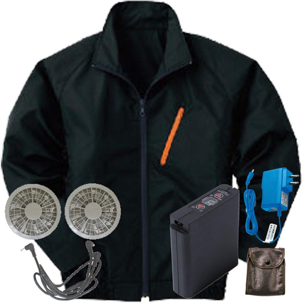 空調服 セット[KU90510ブルゾン+FAN2200グレーファン+LI-ULTRAIリチウムバッテリー] B0785J4TYY 4L|9 ブラック 9 ブラック 4L