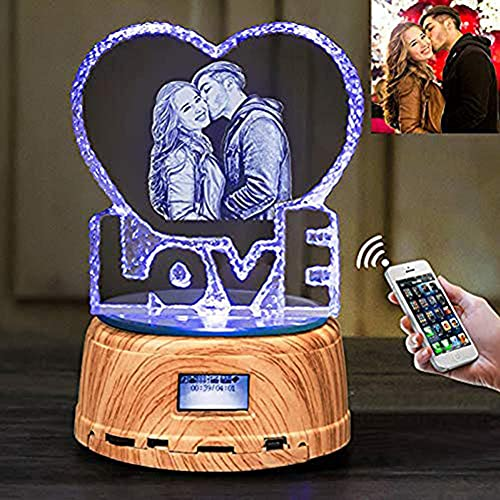 Personalized Laser Custom Photo Heart Shaped Crystal Bluetooth Speaker LED Night Light, Glass Paperweight