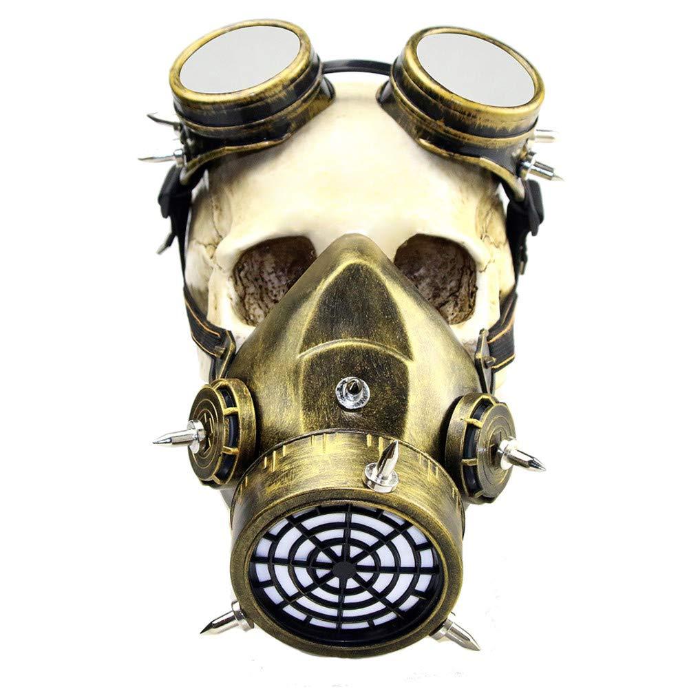 LUCKME Maschera di Gas retrò, Steampunk Antivento Maschere Gothic Cyberpunk respiratore per Masquerade Cosplay Halloween Costume Puntelli,oro