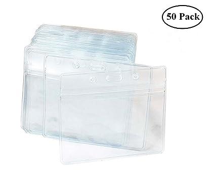 Tarjeta Identificativa,Paquete de 50 Tarjetero Transparentes Impermeable Etiqueta De Identificación Horizontales de Plástico Resistente con Grip Seal ...