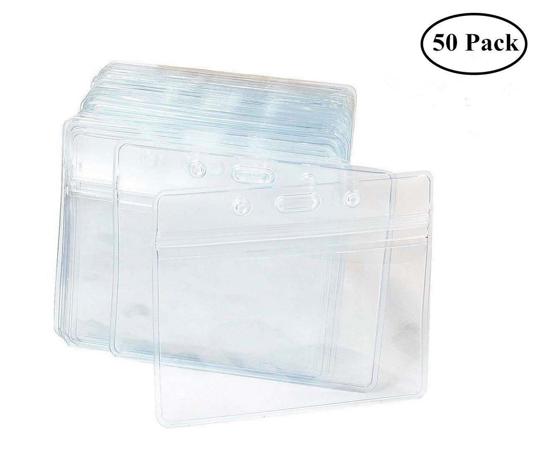 Tarjeta Identificativa,Paquete de 50 Tarjetero Transparentes Impermeable Etiqueta De Identificación Horizontales de Plástico Resistente