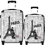 iKase Eiffel Tower Love Paris 1 Hardside Spinner Set (Multicolor)