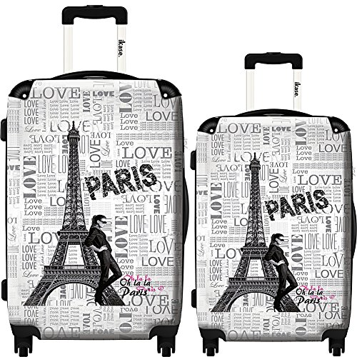 iKase Eiffel Tower Love Paris 1 Hardside Spinner Set (Multicolor) by iKase®