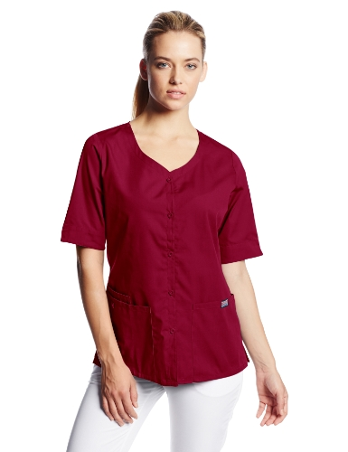 Cherokee Women's Workwear Scrubs Button Front Top, Wine, Small