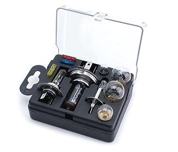 Juego de bombillas de repuesto universal XtremeAuto®, incluye bombillas H1, H4 y H7 y fusibles + pegatina.