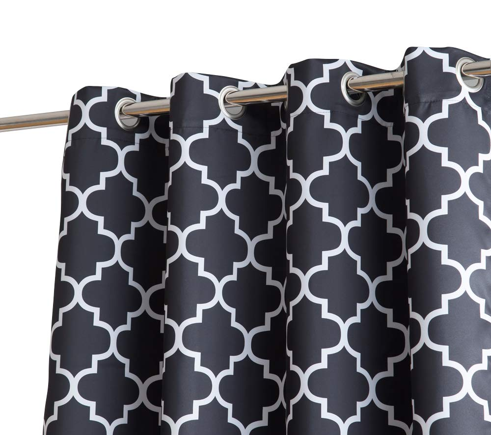 HLC.ME Lattice Print Thermal Insulated Room Darkening Blackout Window Curtain Panels for Living Room - Set of 2-37 W x 63 L - Navy Blue