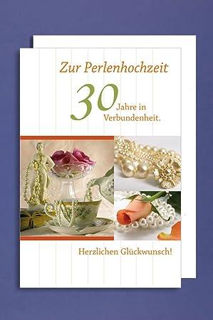 Perlenhochzeit Grußkarte Hochzeitstag 30 Jahre Perlen Vintage Kaffeetasse 16x11cm