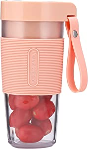 Gkcity Portable Blender,12 Oz Personal Size Blender Shakes and Smoothies Mini Juicer Cup USB Rechargeable Handheld Blender for Sports Travel Gym Office (Pink)