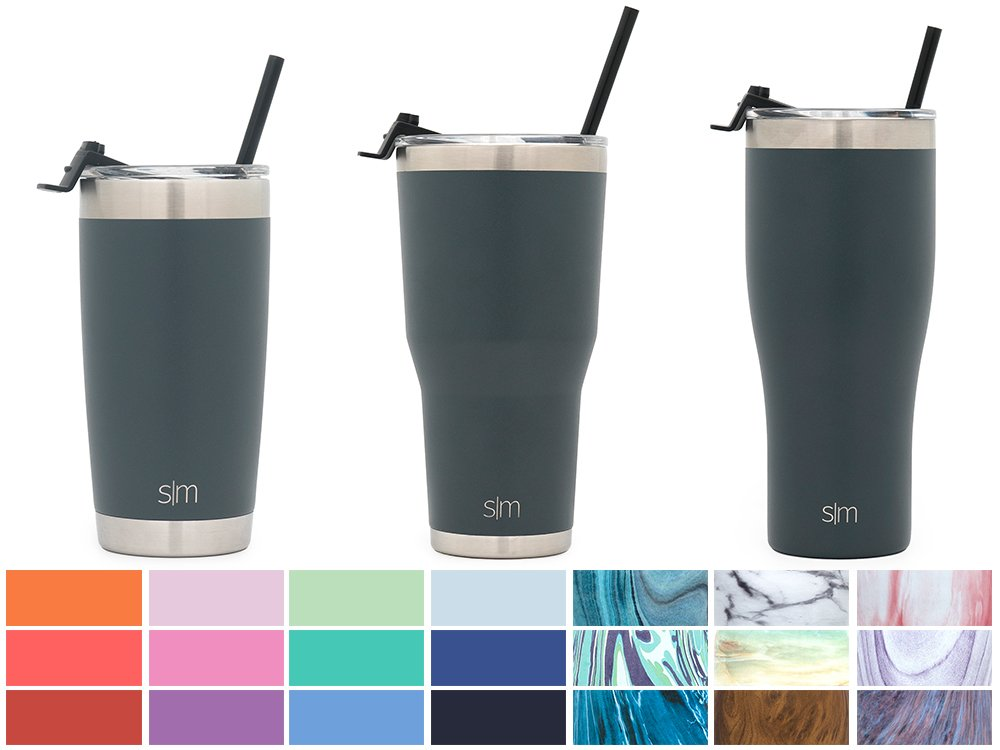 Simple Modern 32oz Slim Cruiser Tumbler with Straw & Closing Lid Travel Mug - Vacuum Insulated Water Coffee Cup Double Wall - Hydro 18/8 Stainless Steel Flask Thermos - Graphite