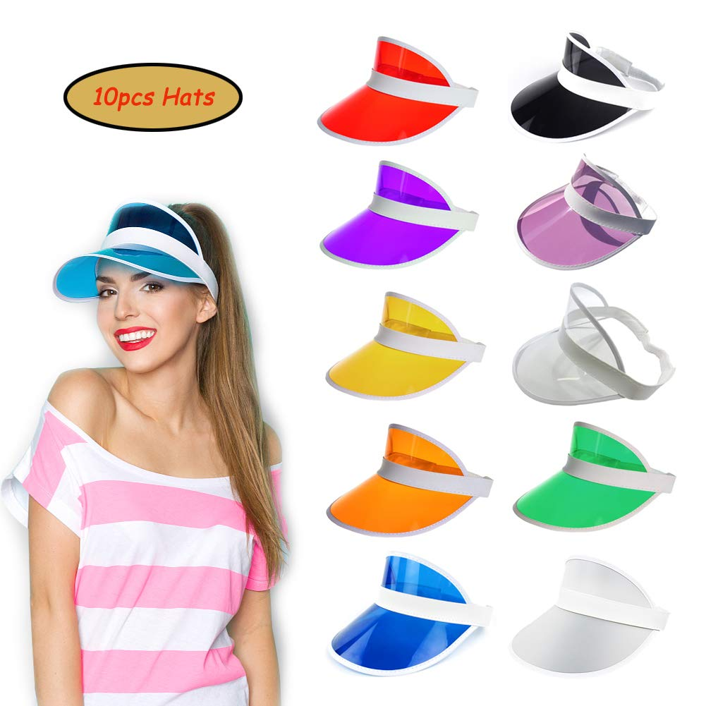 4957f5e16c6c59 Amazon.com: Ultrafun Unisex Candy Color Sun Visors Hats Plastic Clear UV  Protection Cap for Sports Outdoor Activities (10pcs): Sports & Outdoors