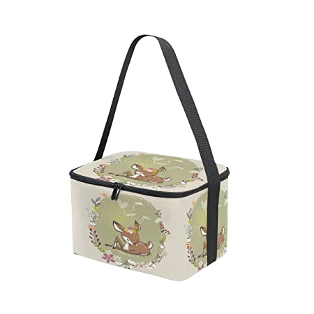 ALAZA Panda Rainbow Striped Insulated Lunch Bag Box Cooler Bag Reusable Tote Bag Outdoor Travel Picnic Bag with Shoulder Strap for Women Men Adults Kids