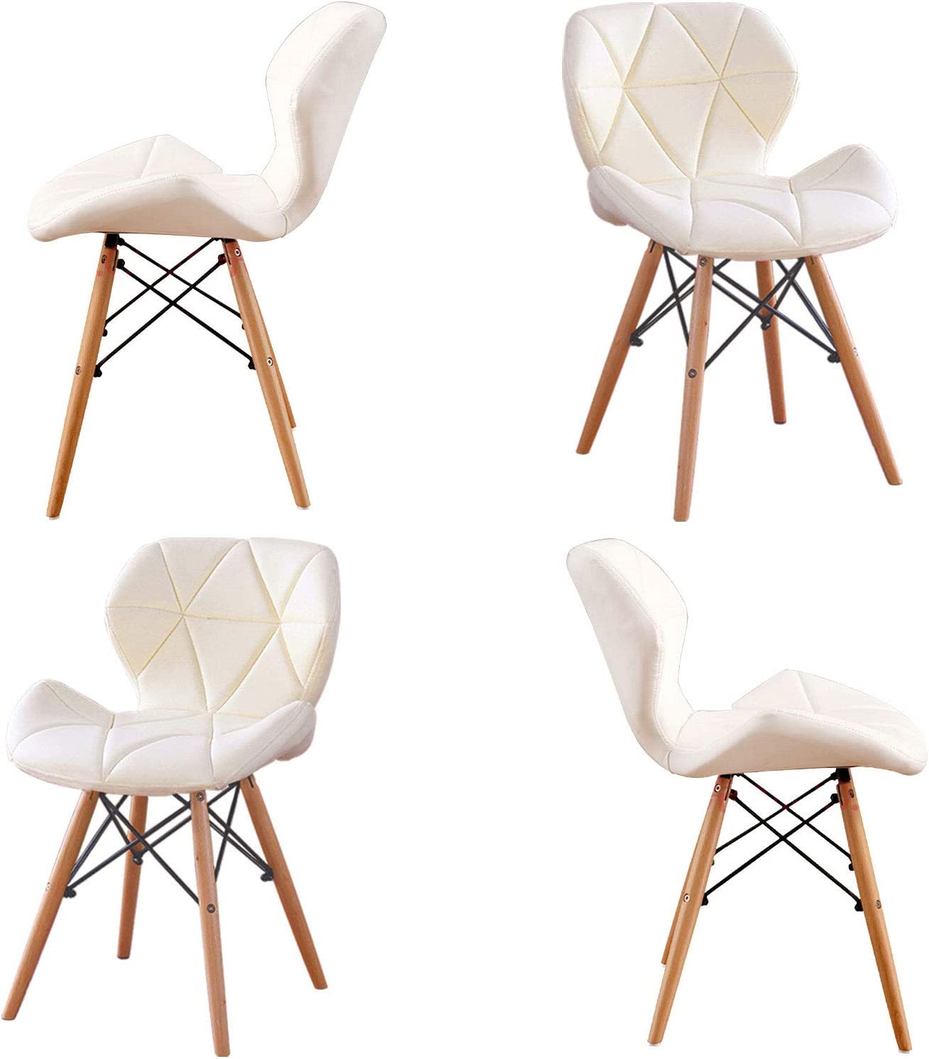 Home Office Dining Chairs Set 4,Modern Chairs of Soft Leathe with Wooden Legs,Black Comfortable Padded Seat Office Chairs