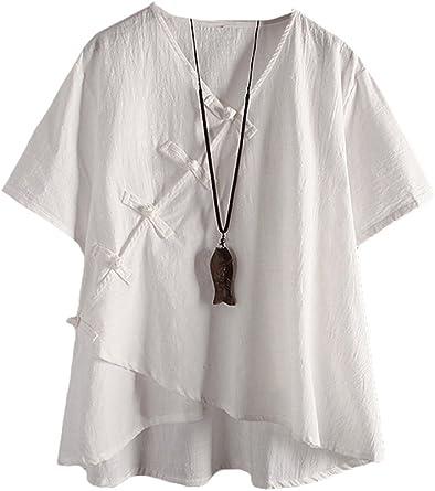 MatchLife - Camisa de Lino para Mujer, clásica, Vintage, China, Cuello en V, túnica, Blanca, Talla EU 46 – 52: Amazon.es: Ropa y accesorios