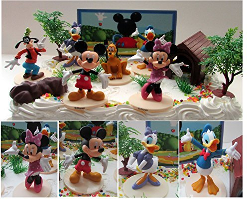 [Mickey Mouse Clubhouse Birthday Cake Topper Featuring Mickey Mouse, Minnie Mouse, Donald Duck, Daisy Duck, Goofy, Pluto, and Other Themed Decorative Cake Pieces] (Mickey Mouse Clubhouse Accessories)