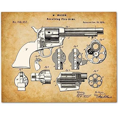 Colt Peacemaker Revolver Pistol Art - 11x14 Unframed Gun Patent Print - Great Gift for Gun Owners and Office Decor