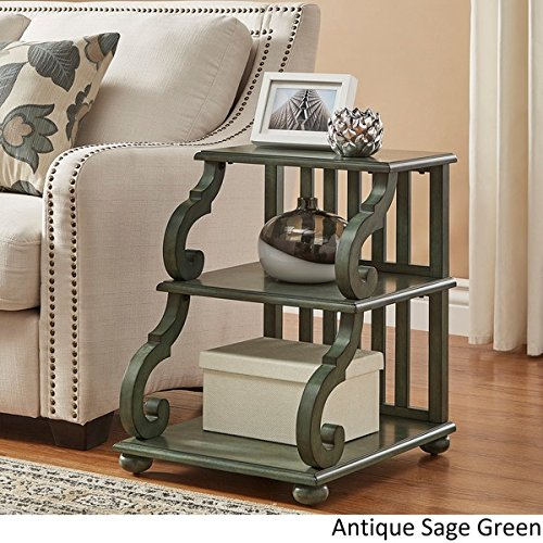TRIBECCA HOME Lorraine Wood Scroll End Table in (Antique Sage Green)