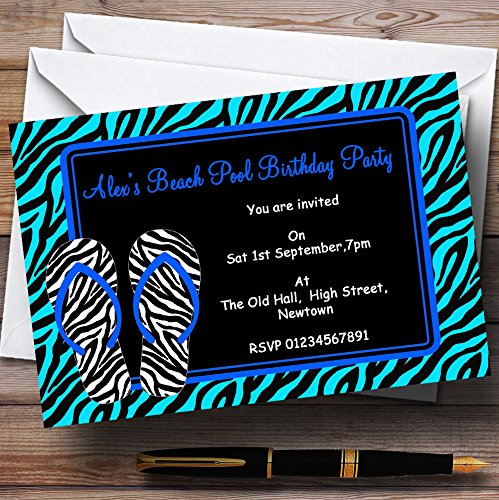 Pool Swimming Theme Personalized Birthday Party Invitations ()