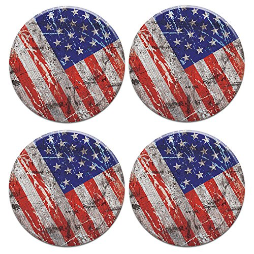 CARIBOU ROUND Ceramic Stone Coasters 4pcs Set, Mug Coffee Cup Place Mat Home Coasters for Hot & Cold Drinks, Wood Vintage American USA Flag