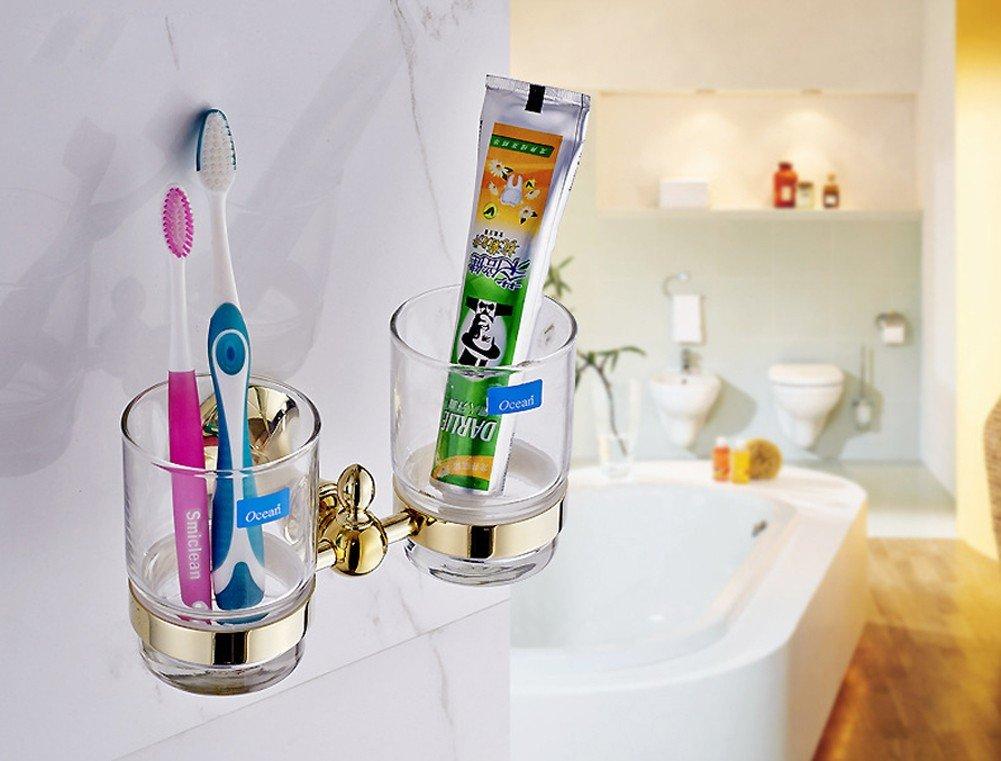 CNBBGJ Cuarto de baño, cuarto de baño colgante hardware porta cepillo de dientes, cepillo de copa europea cup,chapados en oro: Amazon.es: Hogar