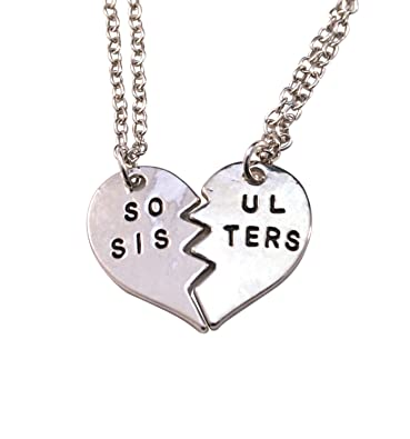 Amazon Com Silver Soul Sisters Necklace For Women 2 Piece Gift For