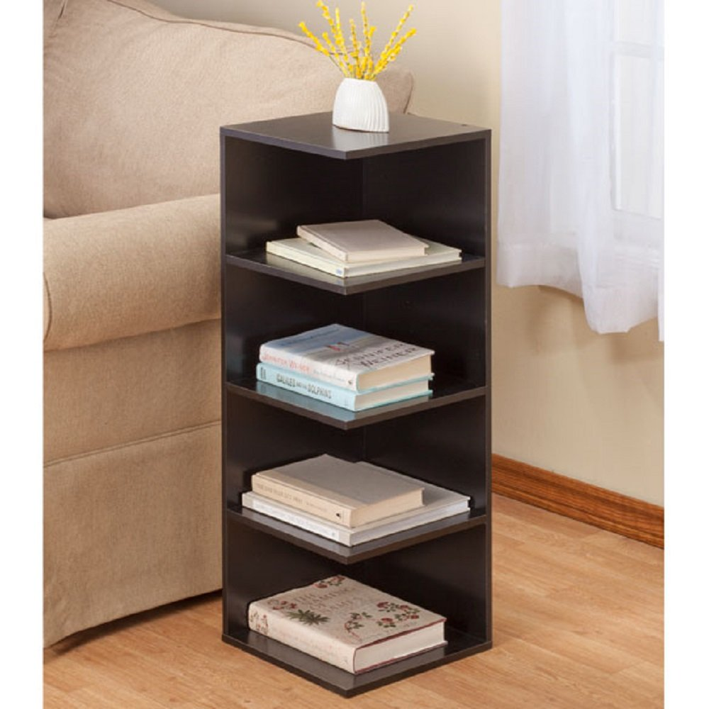 WD-HOME Side Table with Shelves - 32'' H x 12'' Square - Choose color (Black)