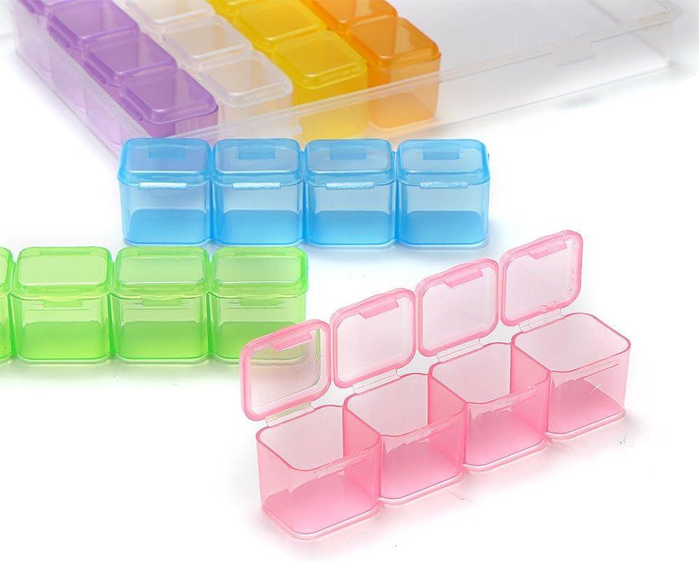 DeeCozy Bo/îte /à Bijoux en Plastique 28 Bo/îtes de Rangement Transparentes en Grille Accessoire de Rangement Utile pour Bijoux en Diamant