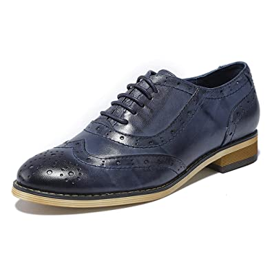 Mona flying Womens Leather Perforated Brogue Wingtip Derby Saddle Oxfords  Shoes for Womens ladis Girls Blue 2895ff794