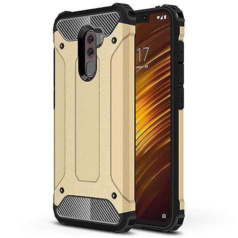 HUUH Funda Xiaomi Pocophone F1 Carcasa Caja de teléfono móvil, combinación TPU + PC, Hermosa Mano de Obra(Oro)