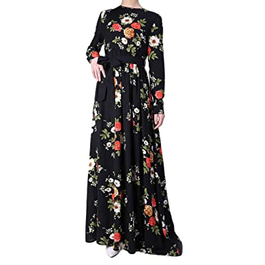 INGSIST Women Dresses Muslim Abaya Print Long Sleeve Kaftan Islamic  Clothing Fashion Long Dress  Amazon.co.uk  Clothing fbdb488e7