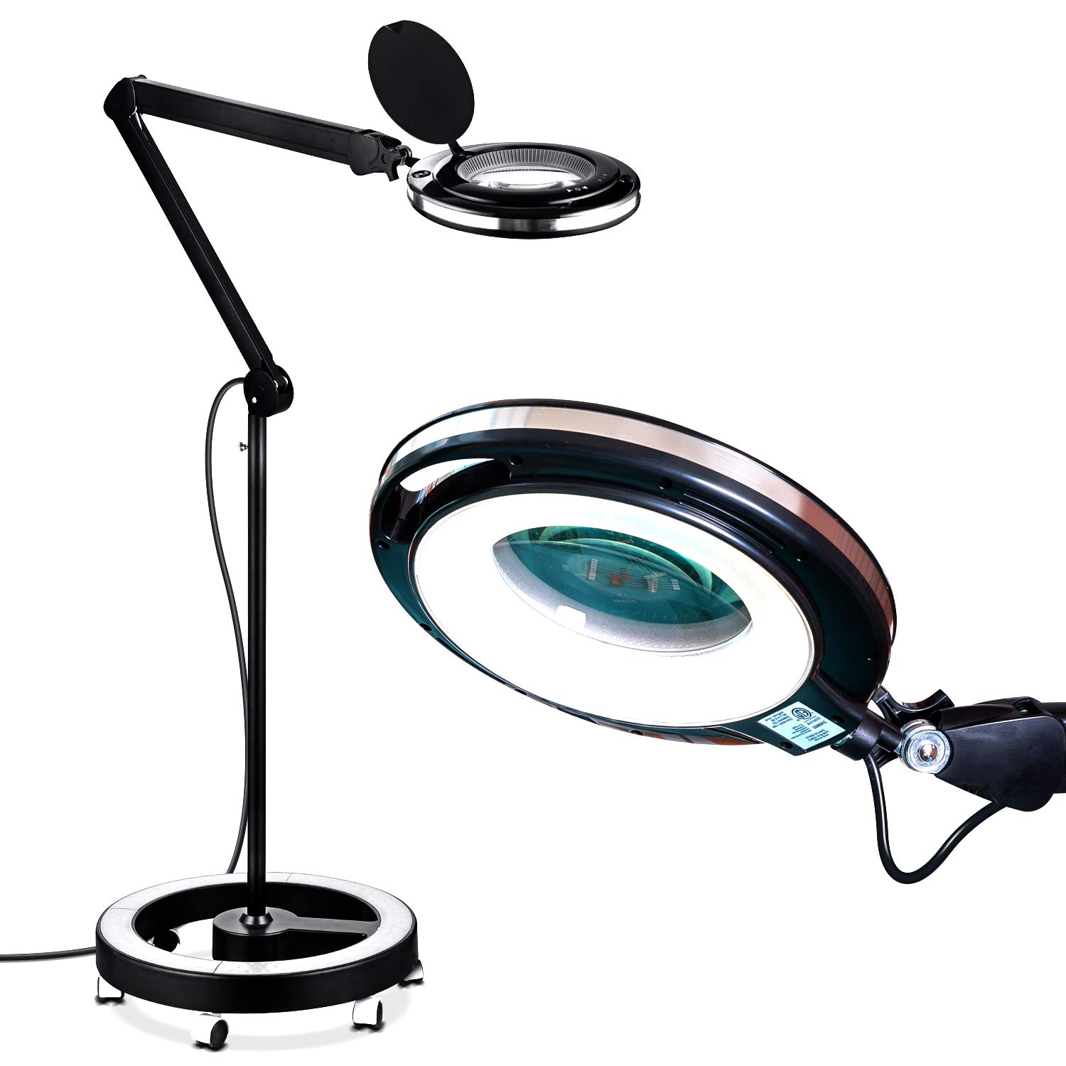 Brightech LightView Pro LED Magnifying Glass Floor Lamp - 5 Diopter Lens - 6 Wheel Rolling Base Reading Magnifier Light with Gooseneck - for Professional Tasks and Crafts -Black