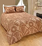 Saral Home Fashions Relief Chenille Bedspread with Sham, Queen, Beige